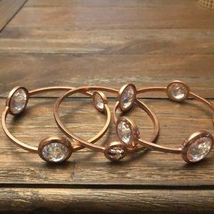 Henri Bendel rose gold bangles